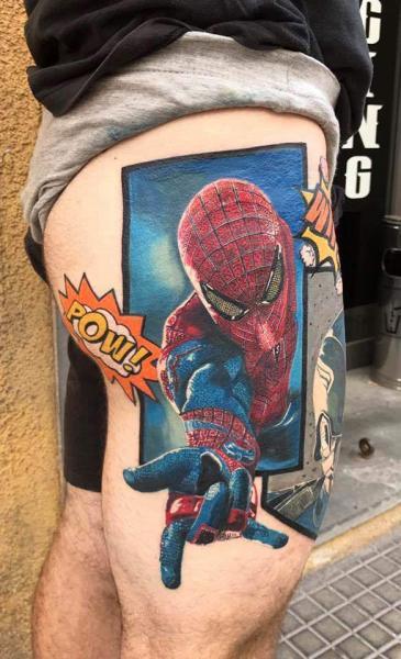 Hero Thigh Spiderman Tattoo by Plan9 Ealing