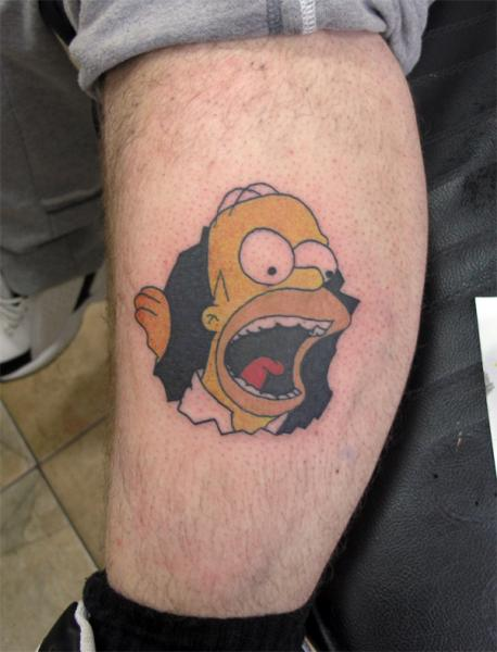 Fantasie bein simpson tattoo von absolute ink for Homer simpson tattoos