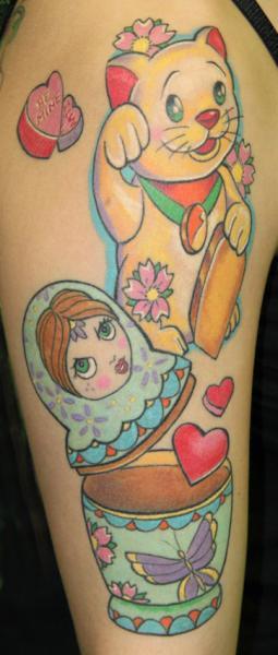 Arm Fantasy Matryoshka Tattoo by Cia Tattoo