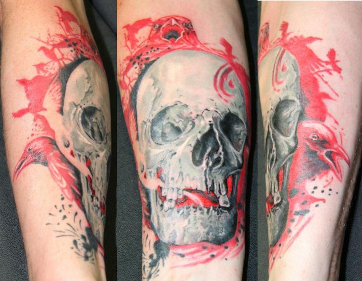 Arm Realistic Skull Tattoo by Cia Tattoo