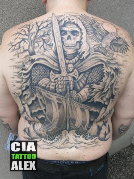 Skull Back Galleon Sword Tattoo by Cia Tattoo