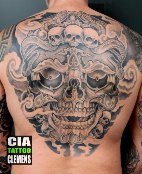 Skull Back Tattoo by Cia Tattoo