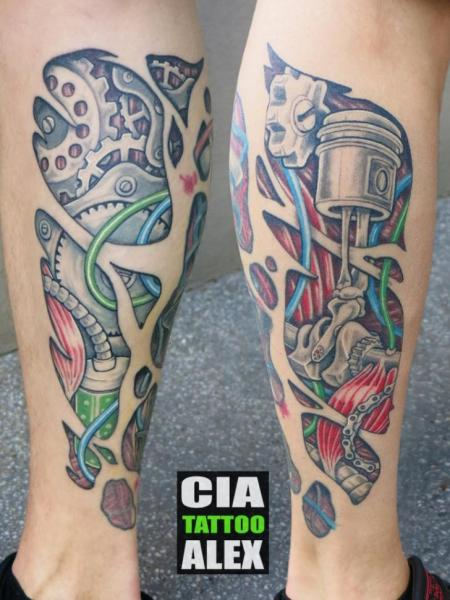Biomechanical Calf Tattoo by Cia Tattoo