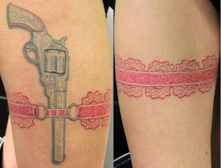 Realistic Leg Gun Tattoo by Cia Tattoo