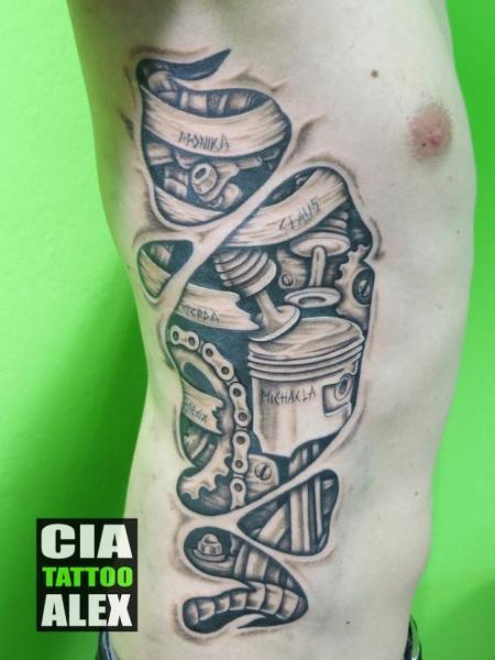 Biomechanical Side Tattoo by Cia Tattoo