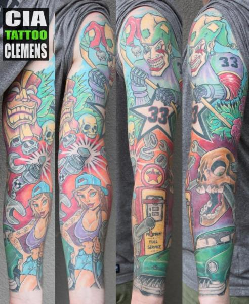 Skull Car Fuel Sleeve Woman Tattoo by Cia Tattoo