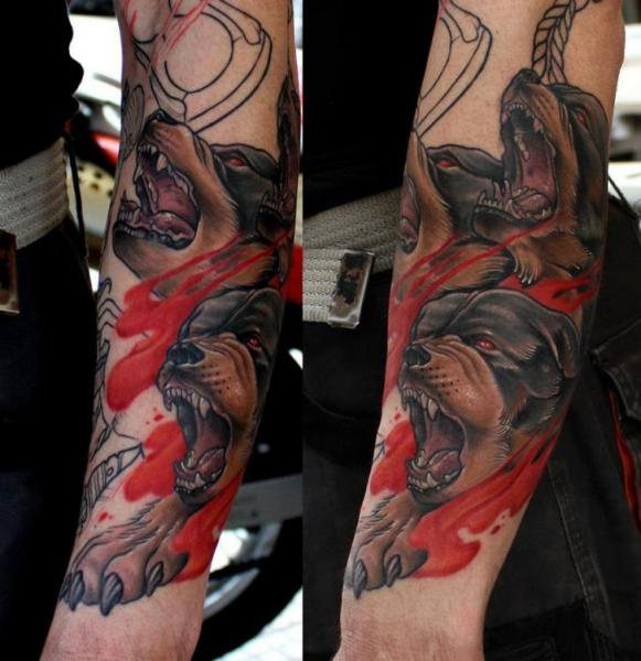 Arm Realistic Dog Tattoo by Dirty Roses