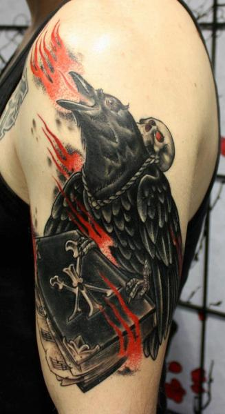 Arm Fantasy Raven Tattoo by Dirty Roses