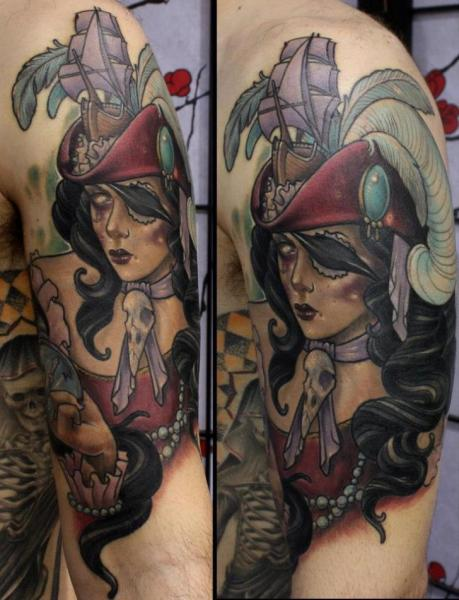 Arm Fantasy Women Pirate Tattoo by Dirty Roses