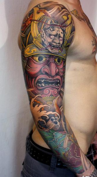 Arm Japanese Samurai Tattoo by Dirty Roses