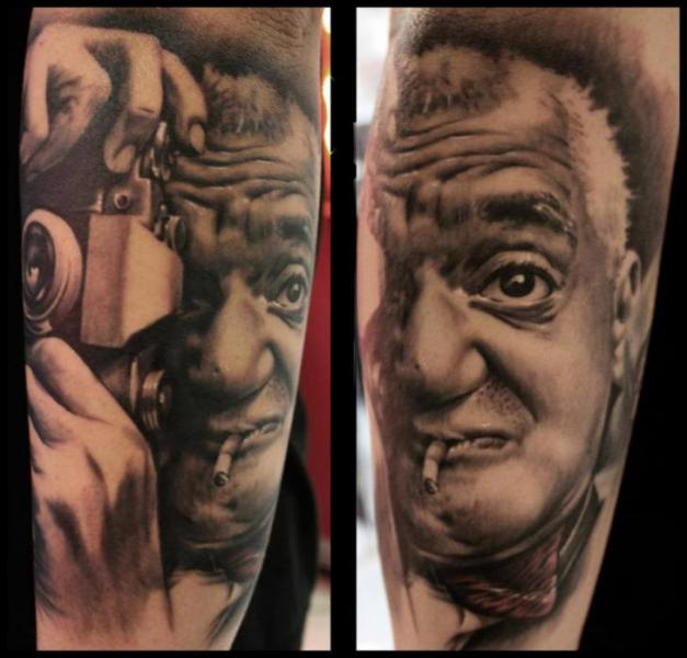 Arm Portrait Realistic Camera Tattoo by Dirty Roses
