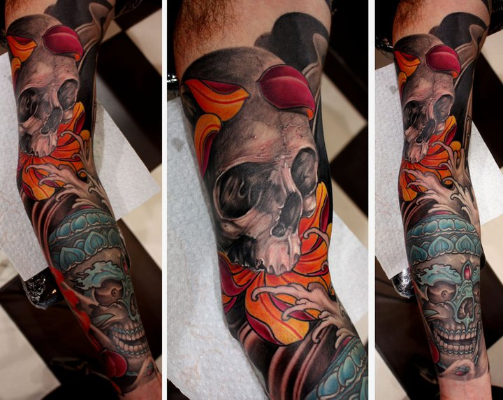Arm Skull Tattoo by Dirty Roses