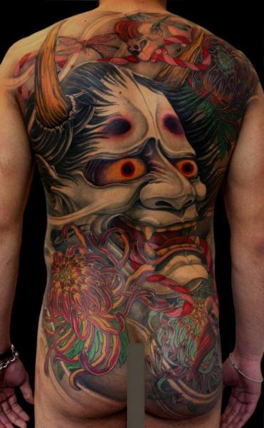 Arm Japanese Back Demon Tattoo by Dirty Roses