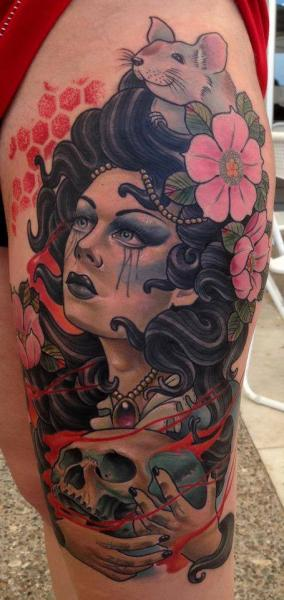 Fantasy Leg Gypsy Tattoo by Dirty Roses