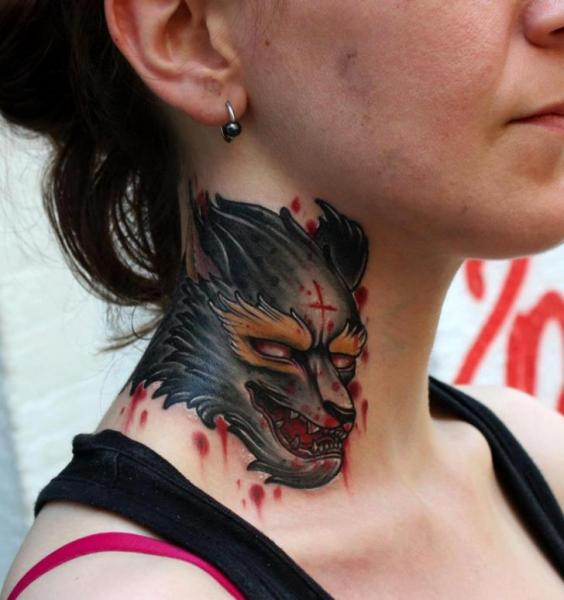 Fantasy Wolf Neck Tattoo by Dirty Roses