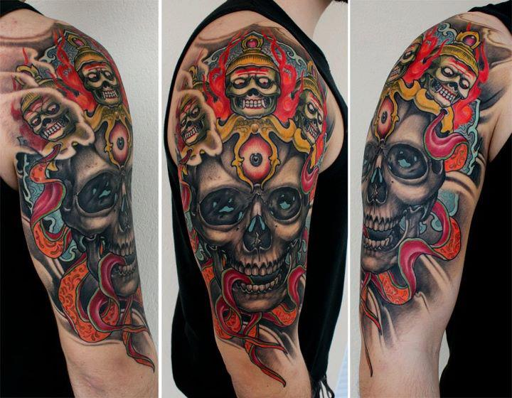 Shoulder Skull Tattoo by Dirty Roses