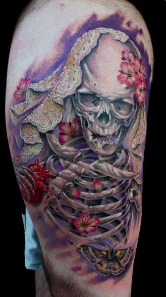 Fantasy Skeleton Thigh Tattoo by Dirty Roses