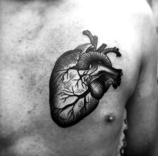 Chest Heart Draw Tattoo By Avinit Tattoo