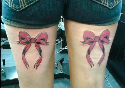 Leg Ribbon Tattoo by Bad Girl Ink Tattoos