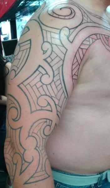Shoulder Tribal Tattoo by Bad Girl Ink Tattoos