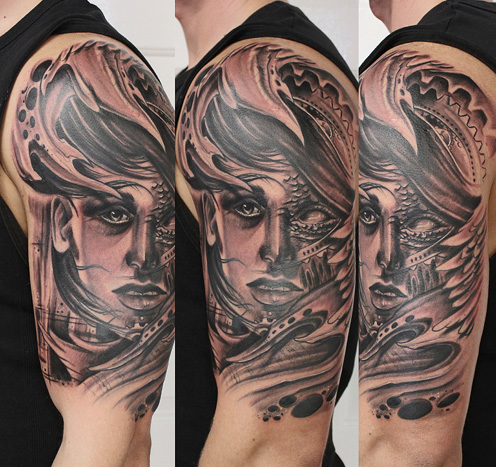 Shoulder Women Tattoo by Bananas Tattoo