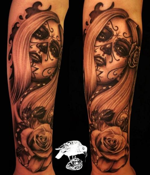 Arm Mexican Skull Women Tattoo by Barry Louvaine