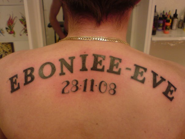 Lettering Back Tattoo by Beverley Ink