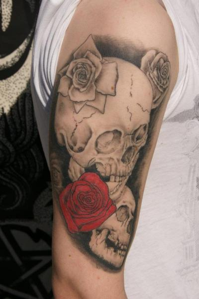 Shoulder Skull Tattoo by Big Willies Tattoo Shack
