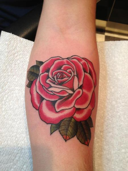 Arm Old School Flower Tattoo by Black Heart Studio