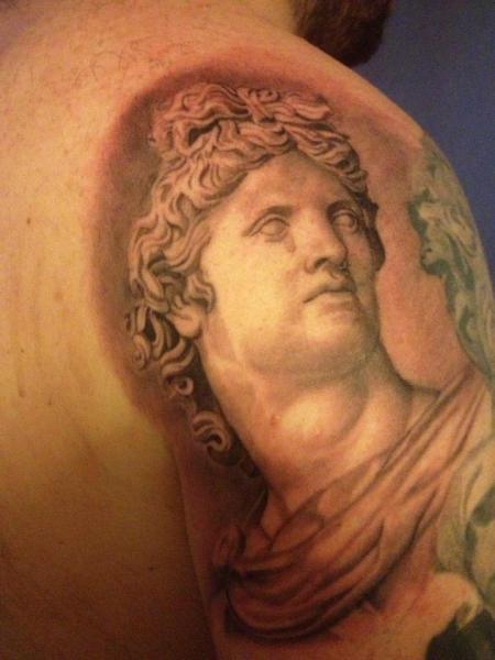 Shoulder Realistic Statue Tattoo by Black Heart Studio