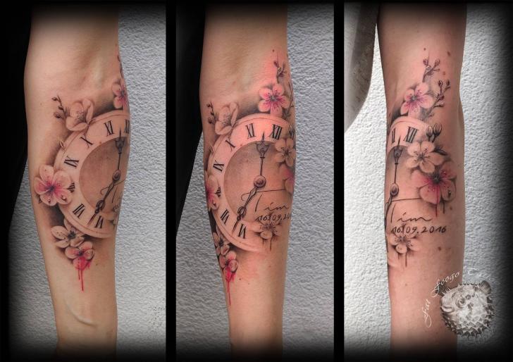 Arm Clock Flower Tattoo by Fat Foogo
