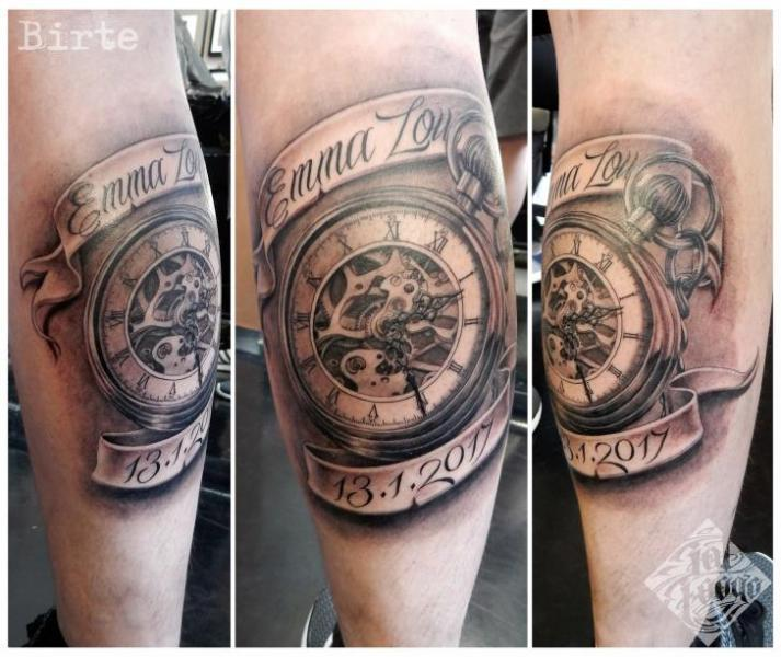 Arm Clock Lettering Tattoo by Fat Foogo