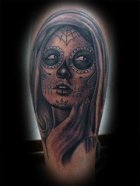 Arm Mexican Skull Tattoo by Fat Foogo