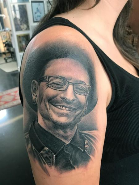 Arm Portrait Chester Bennington Linkin Park Tattoo by Fat Foogo