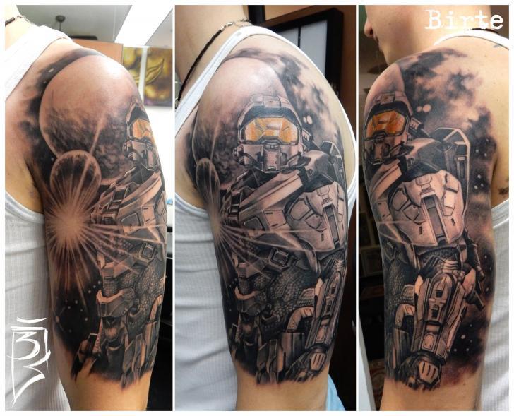 Schulter Arm Roboter Tattoo von Fat Foogo
