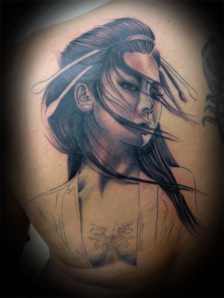 Tatuaje Japoneses Mujer Espalda por Fat Foogo