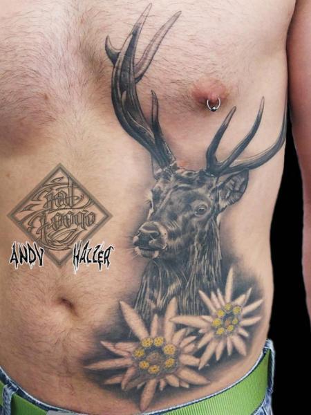Side Belly Deer Tattoo by Fat Foogo