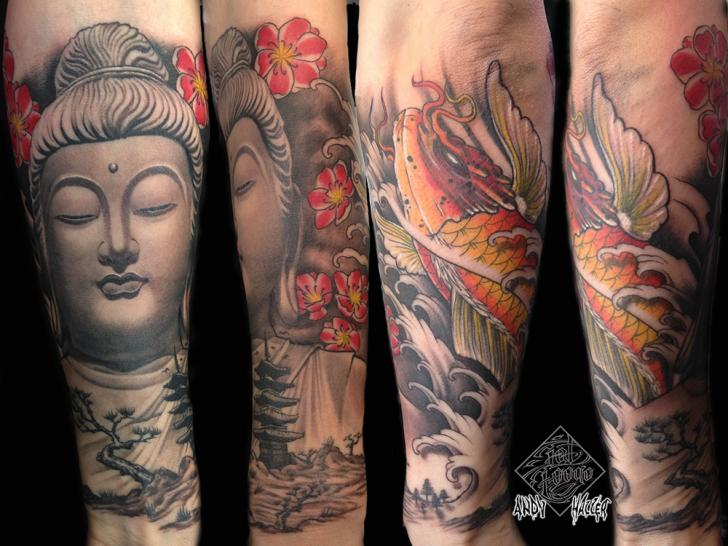 Arm Japanese Buddha Carp Koi Tattoo by Fat Foogo