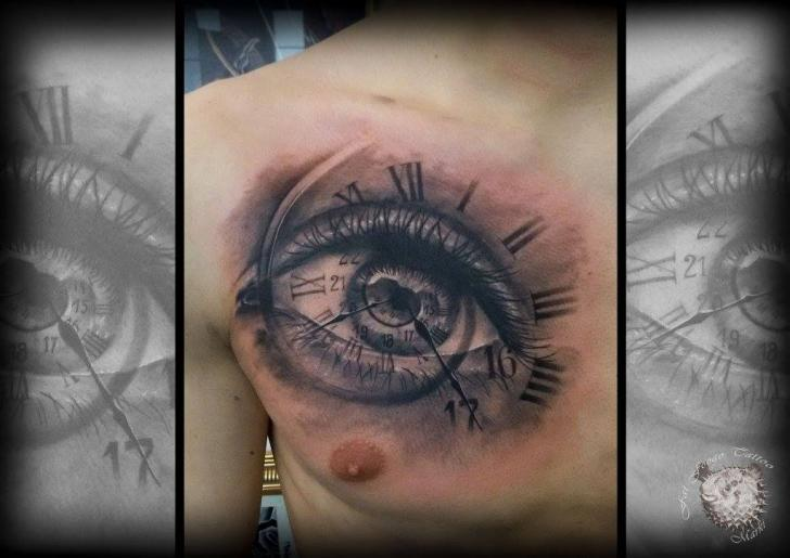 Clock Chest Eye Tattoo by Fat Foogo