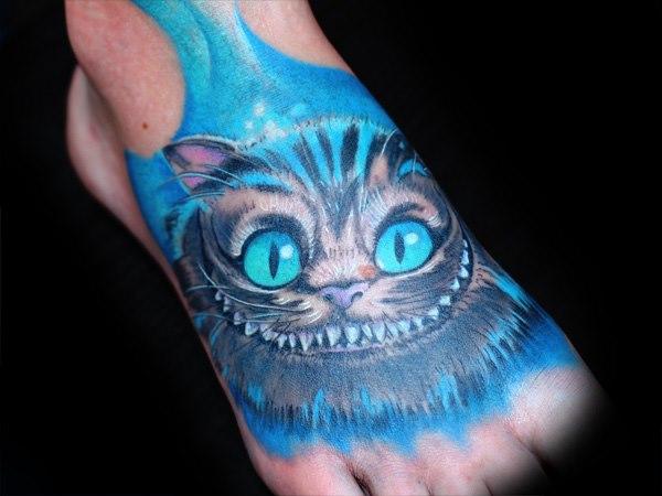 Tatuaje Fantasy Pie Gato por Fat Foogo
