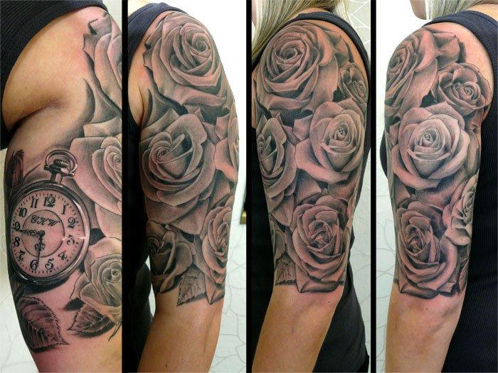 Tatuaż Ramię Zegar Kwiat Przez Fat Foogo