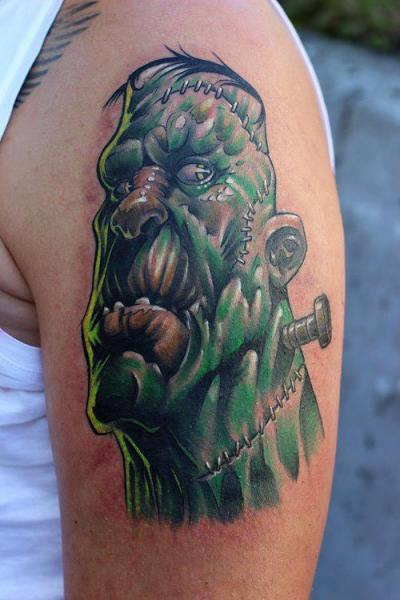 Shoulder Fantasy Frankenstein Tattoo by Fat Foogo