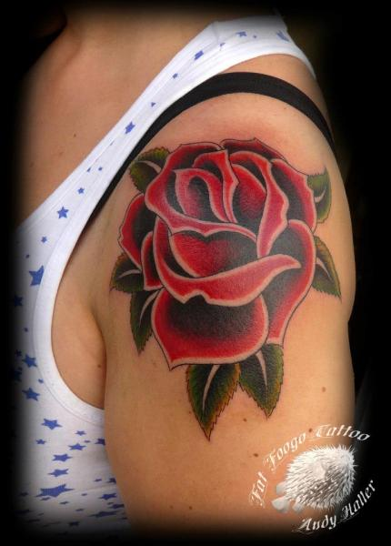 Shoulder Old School Flower Tattoo by Fat Foogo