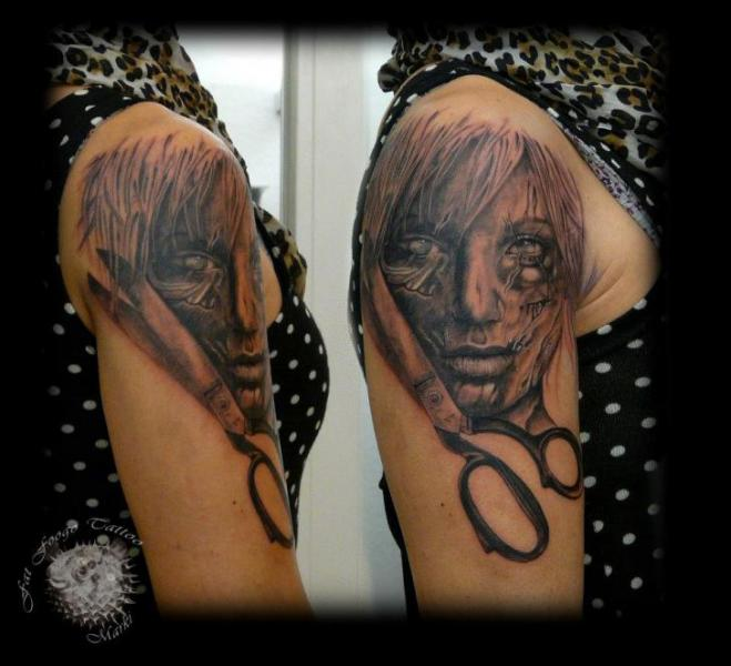 Shoulder Realistic Scissor Women Tattoo by Fat Foogo