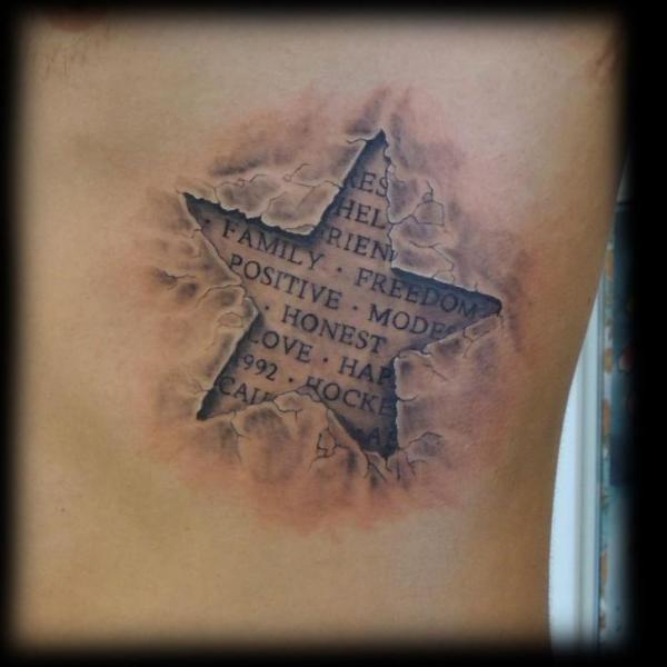 Side Lettering Star 3d Tattoo by Fat Foogo