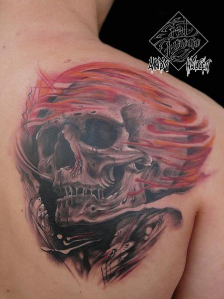 Skull Back Flame Tattoo by Fat Foogo