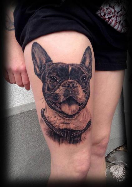 Realistic Dog Thigh Tattoo by Fat Foogo