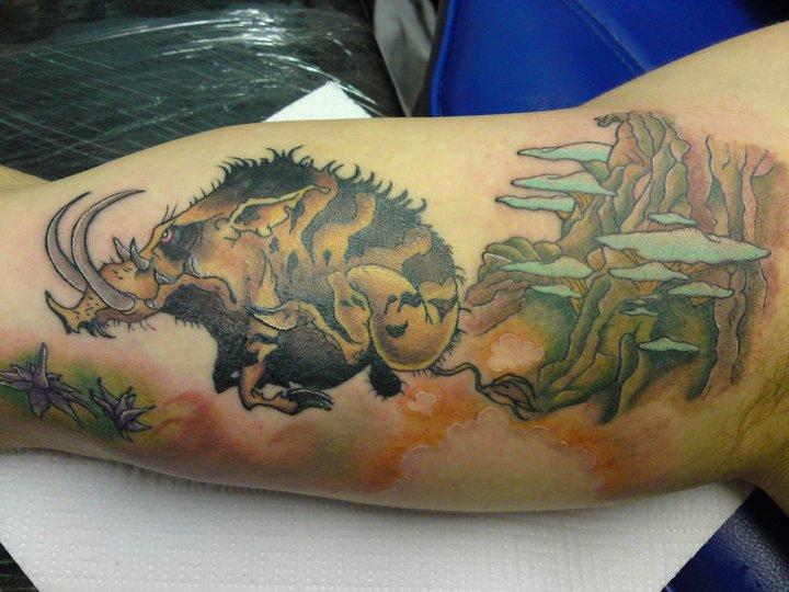 Arm Fantasy Boar Tattoo by Bout Ink Tattoo