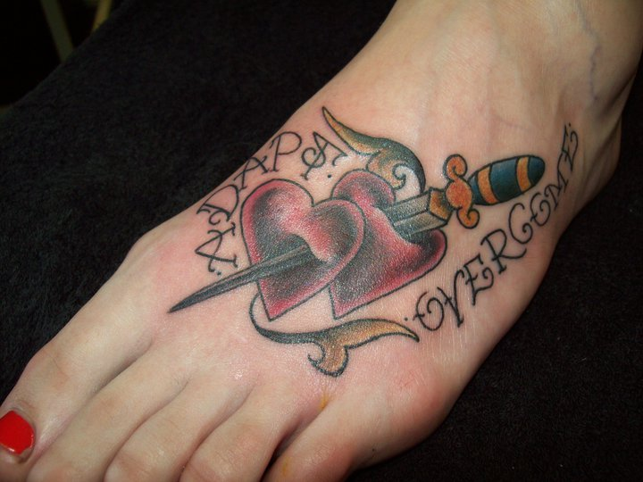 Old School Foot Heart Tattoo by Bout Ink Tattoo