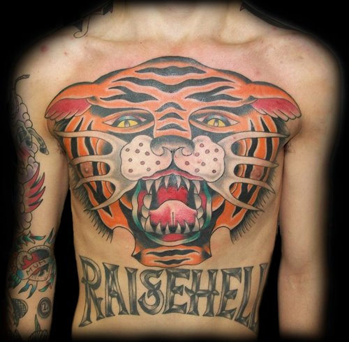 Chest Old School Tiger Tattoo By Broad Street Studio